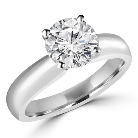 Round Cut Diamond Solitaire 4-Prong Engagement Ring in White Gold - #1625L-W