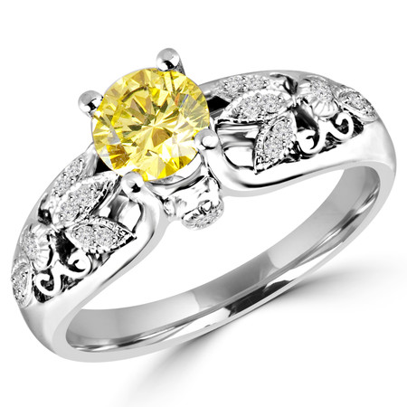 Round Cut Canary Yellow Diamond Multi-Stone 4-Prong Vintage Engagement Ring with Round White Diamond Accents in White Gold - #HR6218-W-YELLOW