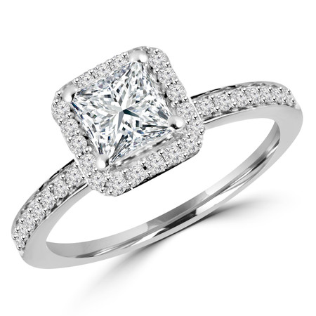 Princess Cut Diamond Multi-Stone 4-Prong Vintage Halo Engagement Ring with Round Diamond Accents in White Gold - #HR4435-W