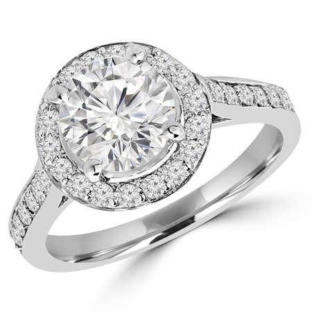 Round Cut Diamond Multi-Stone 4-Prong Vintage Halo Engagement Ring with Round Diamond Accents in White Gold - #IMP-R-E-W