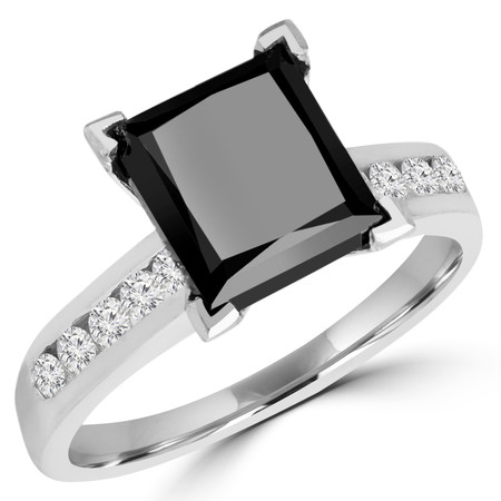 Princess Cut Black Diamond Multi-Stone 6-Prong High-Set Engagement Ring with Round White Diamond Channel-Set Accents in White Gold - #SM510-W-PR-BLK