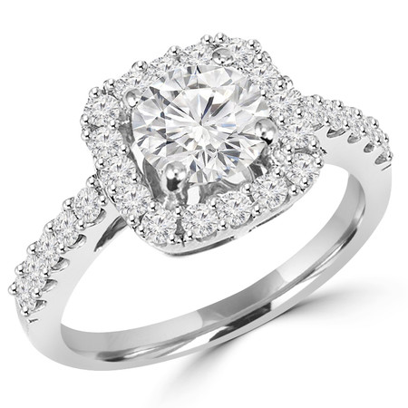 Round Cut Diamond Multi-Stone 4-Prong Vintage Cathedral Style Halo Engagement Ring with Round Diamond Scallop-Set Accents in White Gold - #HR6262-W
