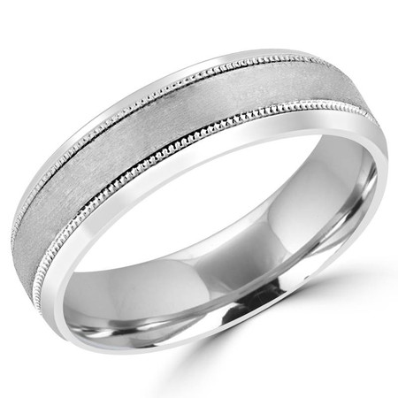6.0 MM Brushed & Polished Mens Tapered Comfort Fit Wedding Band Ring in White Gold - #JM413-W