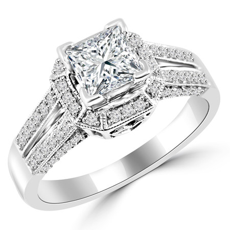 Princess Cut Diamond Multi-Stone Split-Shank V-Prong Vintage Halo Engagement Ring with Round Diamond Accents in White Gold - #HR6313-W