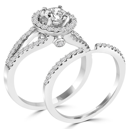 Round Cut Diamond Multi-Stone Split-Shank 4-Prong Vintage Halo Engagement Ring & Wedding Band Bridal Set with Round Diamond Accents in White Gold - #HR6539A-B-W