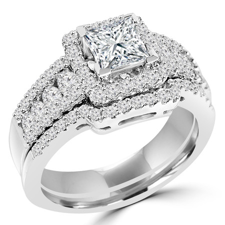 Princess Cut Diamond Multi-Stone V-Prong Vintage Halo Engagement Ring & Wedding Band Bridal Set with Round Prong & Channel-Set Diamond Accents in White Gold - #HR6533-A-B-W