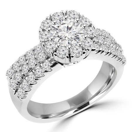 Round Cut Diamond Multi-Stone Shared-Prong Vintage Halo Engagement Ring with Round Diamond Accents in White Gold - #HR4529-W