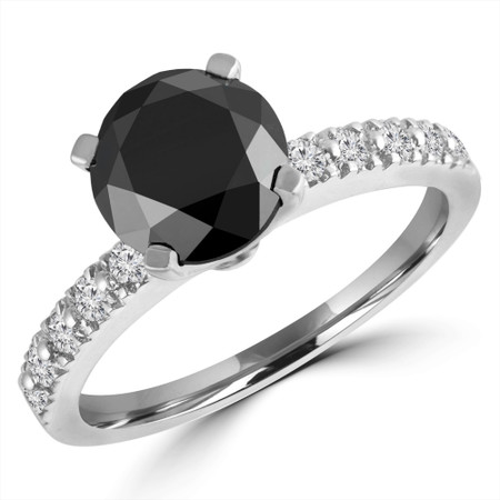 Round Cut Black Diamond Multi-Stone 4-Prong Engagement Ring with Round White Diamond Scallop-Set Accents in White Gold - #HR10362-W-BLK