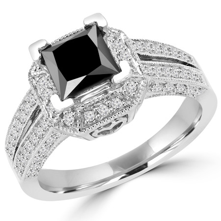 Princess Cut Black Diamond Multi-Stone Split-Shank V-Prong Vintage Halo Engagement Ring with Round White Diamond Accents in White Gold - #HR6313-W-BLK