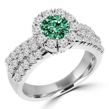 Round Cut Green Diamond Multi-Stone Shared-Prong Vintage Halo Engagement Ring with Round White Diamond Accents in White Gold - #HR4529-W-GREEN