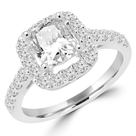 Cushion Cut Diamond Multi-Stone 4-Prong Vintage Halo Engagement Ring with Round Diamond Accents in White Gold - #HR6262-W-CU