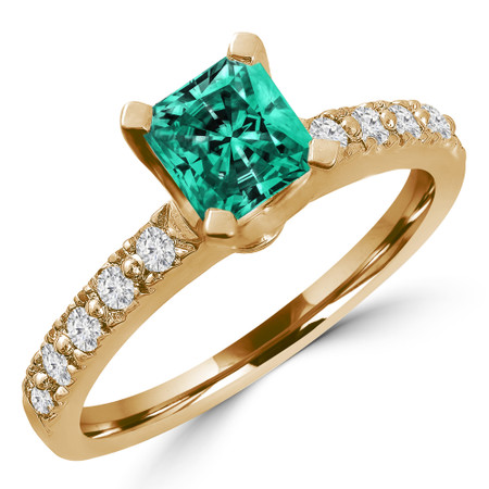 Radiant Cut Green Diamond 4-Prong Engagement Ring with Round White Diamond Accents in Yellow Gold - #HR10360-Y-RA-GREEN