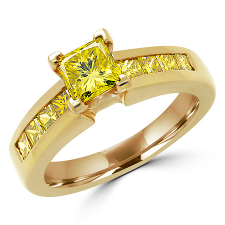 Princess Cut Canary Yellow Diamond Multi-Stone V-Prong Engagement Ring with Round Channel Set Diamond Accents in Yellow Gold - #2074L-Y-YEL
