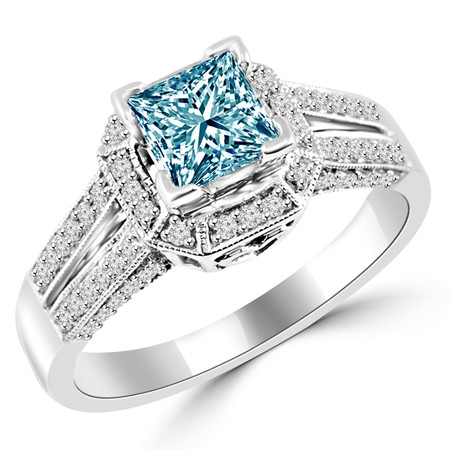 Princess Cut Blue Diamond Multi-Stone Split-Shank V-Prong Vintage Halo Engagement Ring with Round White Diamond Accents in White Gold - #HR6313-W-BLUE