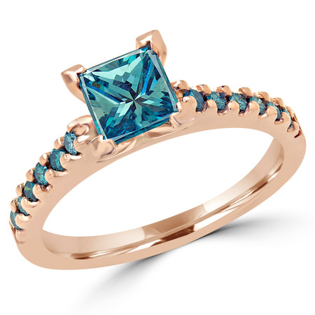 Princess Cut Blue Diamond Multi-Stone V-Prong Engagement Ring with Round Blue Diamond Accents in Rose Gold - #2507LP-R-BLUE