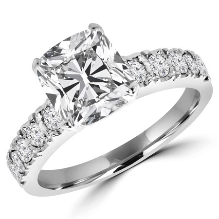 Cushion Cut Diamond Multi-Stone 4-Prong Engagement Ring with Round Diamond Accents in White Gold - #LOCAL-NOVO-MD-P-W