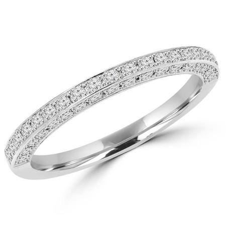 Round Cut Diamond Semi-Eternity 4-Prong Wedding Band Ring in White Gold - #MD-R-MARINA-W