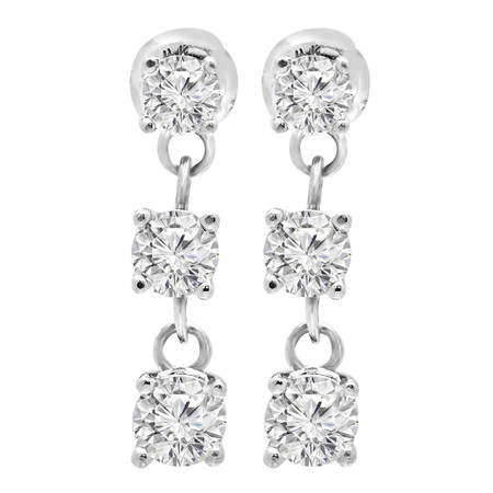 Round Cut Diamond Three-Stone Drop Dangle Stud Earrings with Screwbacks in White Gold - #MD-E-SHOULA-W