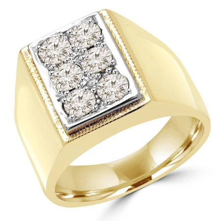 Mens Round Cut Champagne Diamond 6-Stone Fashion Ring in Yellow Gold - #MD-R-MENS-Y