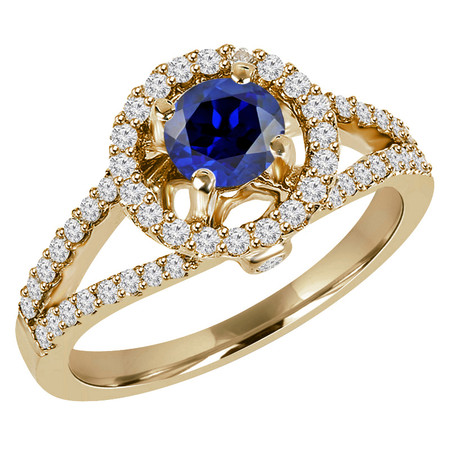 Round Cut Blue Sapphire Gemstone Multi-Stone Split-Shank 4-Prong Halo Cocktail Ring with Round Diamond Accents in Yellow Gold - #HR6196-Y-SAP