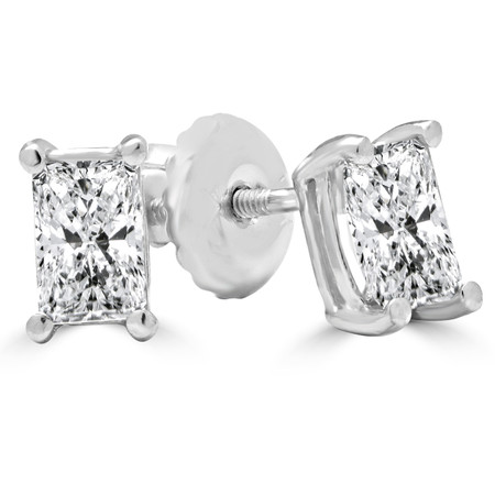 Radiant Cut Diamond Solitaire 4-Prong Stud Earrings with Screwbacks in White Gold - #E430