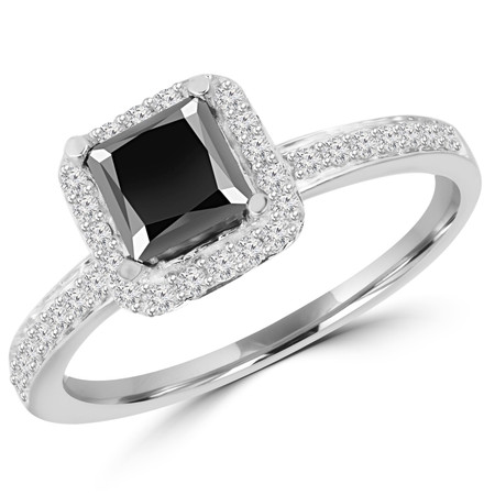 Princess Cut Black Diamond Multi-Stone 4-Prong Halo Engagement Ring with Round White Diamond Accents in White Gold - #HR4435-W-BLK