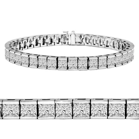 Radiant Cut Diamond Bar Set Tennis Bracelet in White Gold - #B-619-W