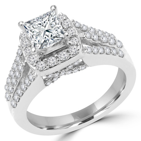 Princess Cut Diamond Multi-Stone 4-Prong Split-Shank Vintage Halo Engagement Ring with Round Diamond Accents in White Gold - #FRCF5270-PR-W