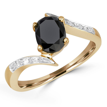 Oval Cut Black Diamond Multi-Stone 4-Prong Engagement Bypass Ring with Round Diamond Accents in Yellow Gold - #GNFX22-Y-BLK