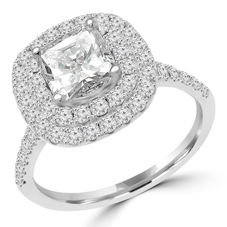 Cushion Cut Diamond Multi-Stone 4-Prong Vintage Double-Halo Engagement Ring with Round Diamond Accents in White Gold - #MD-R-DOUBLE-HALO-W