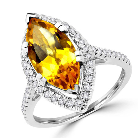 Marquise Cut Yellow Sapphire Gemstone Multi-Stone 6-Prong Halo Cocktail Ring with Round White Diamond Accents in White Gold - #CSFR5F7621