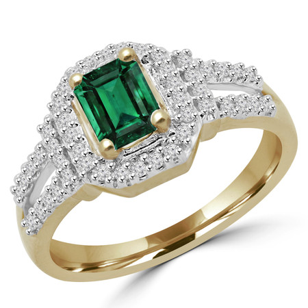 Emerald Cut Green Emerald Gemstone Multi-Stone Split-Shank Halo Ring with Round White Diamond Accents in Yellow Gold - #ESFQ111-RING-Y-EM