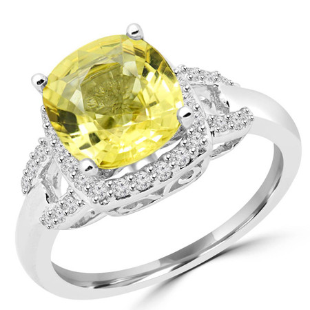 Cushion Cut Treated Yellow Sapphire Gemstone Multi-Stone 4-Prong Halo Cocktail Ring with White Diamond Accents in White Gold - #CSFR2W1386-W-SAP