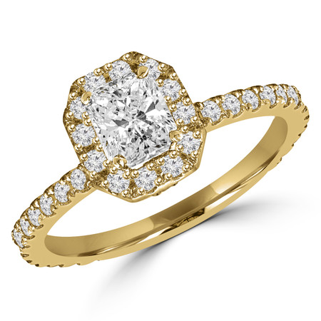 Radiant Cut Diamond Multi-Stone 4-Prong Vintage Halo Engagement Ring with Round Diamond Accents in Yellow Gold - #LOCAL-R-RAD-Y