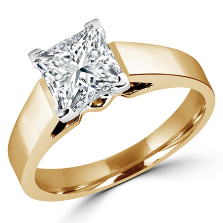 Princess Cut Diamond Solitaire Cathedral-Set 4-Prong Engagement Ring in Yellow Gold - #323LP-Y