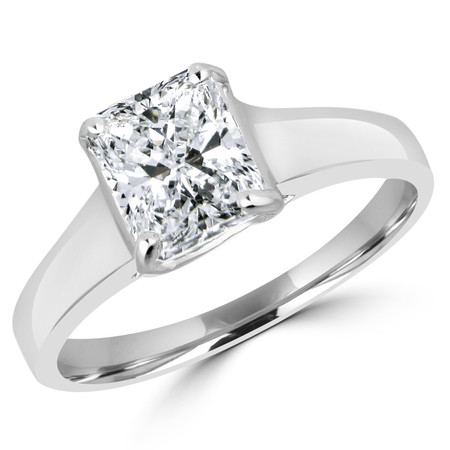 Radiant Cut Diamond Solitaire 4-Prong Trellis-Set Engagement Ring in White Gold - #SPR2066-W-RA