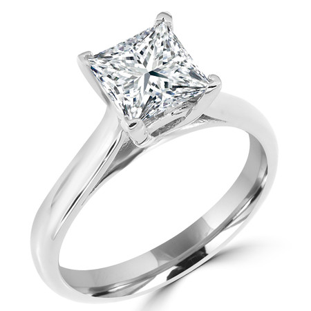 Princess Cut Diamond Solitaire 4-Prong Cathedral-Set Engagement Ring in White Gold - #SPR2563-W