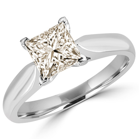 Princess Cut Champagne Diamond Solitaire V-Prong Engagement Ring in White Gold - #1244LP-W-CH