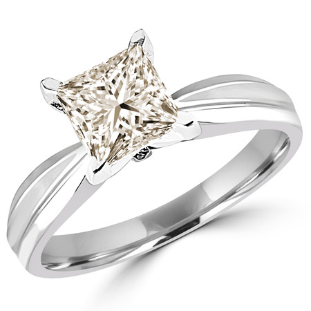 Princess Cut Champagne Diamond Solitaire Tapered Shank V-Prong Engagement Ring in White Gold - #714LP-W-CHM