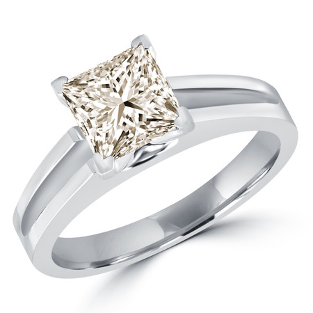 Princess Cut Champagne Diamond Solitaire Split Shank V-Prong Engagement Ring in White Gold - #210LP-W-CHM