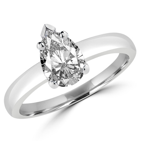 Pear Cut Diamond Solitaire Engagement 5-Prong Ring in White Gold - #1504L-W-PE