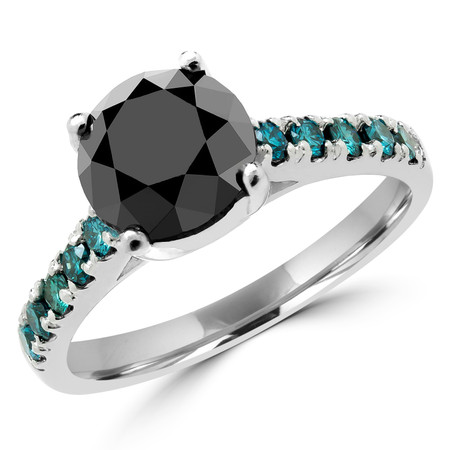 Round Cut Black Diamond Multi-Stone 4-Prong Cathedral-Set Engagement Ring with Round Blue Diamond Accents in White Gold - #SM1991-BLK-W