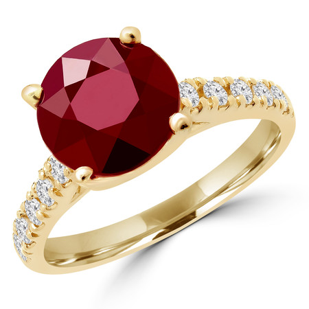 Round Cut Red Ruby Gemstone Multi-Stone 4-Prong Cathedral-Set Vintage Engagement Ring with Round White Diamond Accents in Yellow Gold - #SM1991-Y-RUBY