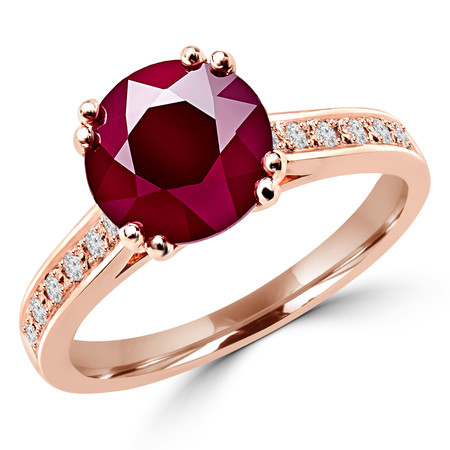 Round Cut Red Ruby Gemstone Multi-Stone 4 Double-Prong Cathedral-Set Vintage Engagement Ring with Round White Diamond Accents in Rose Gold - #SM2361-R-RUBY