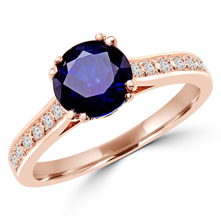 Round Cut Blue Sapphire Gemstone Multi-Stone 4 Double-Prong Cathedral-Set Vintage Engagement Ring with Round White Diamond Accents in Rose Gold - #SM2361-R-SAPP