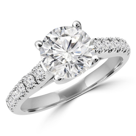 Round Cut Diamond Multi-Stone 4-Prong Cathedral & Trellis-Set Engagement Ring with Round Diamond Accents in White Gold - #SM1991-W