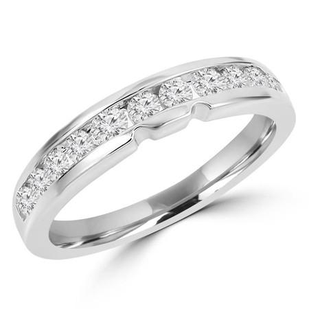 Round Cut Diamond Semi-Eternity Channel-Set Wedding Band Ring in White Gold - #HR4524-W