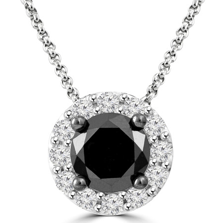 Round Cut Black Diamond Multi-Stone 4-Prong Halo Pendant Necklace with Round Cut White Diamond Accents with Chain in White Gold - #CDPEOC5011