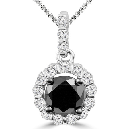 Round Cut Black Diamond Multi-Stone 4-Prong Halo Pendant with Round Cut White Diamond Bar-Set Accents with Chain in White Gold - #CDPEQC7324