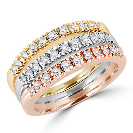Round Cut Diamond Multi-Stone Stackable 4-Prong Wedding Band Ring in White Gold, Yellow Gold & Rose Gold - #ESFTH94